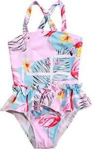 Macool Girls Swimwear Toddler Kids Bathsuits One Piece Baby Beach Swimsuit Size 6 Pink-Flamingo