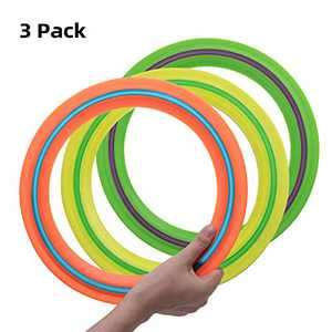 OUOnDAD Flying Disc Toys for Kids Adults 11 inch Flying Ring, 3 Pack Beach Backyard Sports Play Discs Soft Rubber Flying Discs,Best Sport Pool Toy Gift for 3 4 5 6 7 8 9 10 Year Old Boys Girls Family