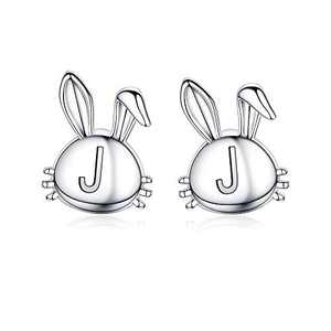 Daughter Earrings for Girls, 14K White Gold Plated Personalized J Initial Earrings Dainty Earrings Cute Animal Bunny Earrings Baby Easter Gifts for Girls