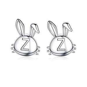 Easter Bunny Earrings for Girls, 14K White Gold Plated Dainty Z Initial Earrings Hypoallergenic Cute Animal Bunny Earrings Baby Easter Gifts for Daughter Girls