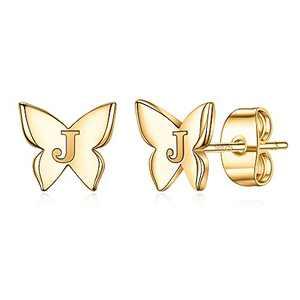 Cute Girls Earrings for Kids, S925 Sterling Silver Post 14K Gold Plated Dainty Butterfly Girls Earrings Hypoallergenic Letter J Initial Butterfly Earrings for Girls Kids Earrings Jewelry Gifts