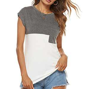 HIFUAR Women's Tops Summer Color Block Cap Sleeve Crew Neck Loose Casual T Shirts Fashion Top with Pocket(2XL,White)