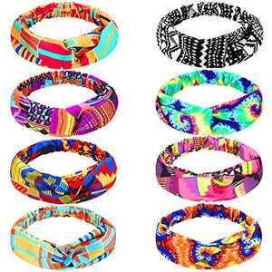 8 Pieces African Headbands Boho Print Headband Twist Knot Elastic Hair Bands Yoga Sports Headband with Strip and Floral Prints for Women Girls