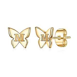Rose Gold Butterfly Initial Earrings for Girls, S925 Sterling Silver Post Gold Stud Earrings Letter M Initial Hypoallergenic Earrings for Girls Best Friend Gifts