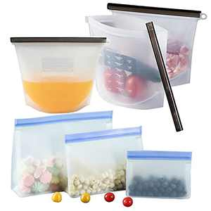 TINGFENG Reusable Silicone Food Storage Bags (Set of 6), Leakproof Food Grade Silicone bags for Vegetable, Liquid, Snack, Meat, Sandwich,Food Bunkers Reusable Bags