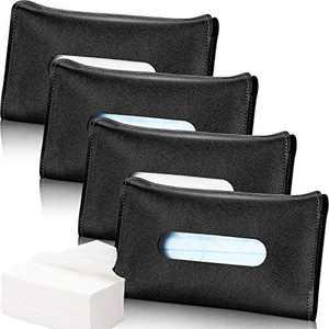 Frienda 4 Pieces Car Mouth Cover Holder Visor Tissue Holder Sun Visor Napkin Holder, PU Leather Tissues Box, Car Visor Tissue Paper Storage Cases for Vehicle Auto (Black)