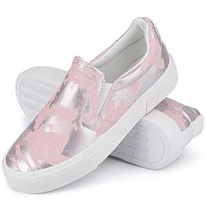 JENN ARDOR Women's Casual Slip-on Shoes Trendy Comfortable Walking Sneakers Stylish Flat Shoes Non-Slip Platform Shoes Breathable Ladies Loafers Play Sneakers for Women