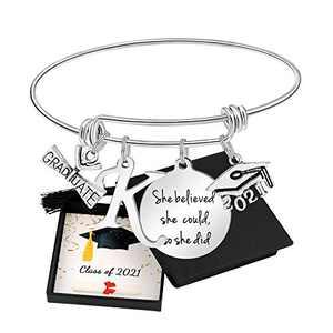Graduation Gifts for Her Class 2021College High School Inspirational Graduation Initial Letter K Bangel Bracelet for Classmates Friend Niece Cousin Daughter Sister Girlfriend Girls
