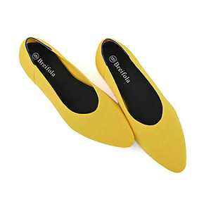 Women's Knit Pointed Ballet Flat - Casual Ballet Comfort Soft Slip On Flats Shoes (X010-4-YELLOW, Numeric_5)