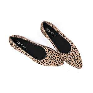 Women's Knit Pointed Ballet Flat - Casual Ballet Comfort Soft Slip On Flats Shoes (X010-6-LEOPARD, Numeric_9)