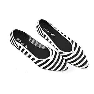 Women's Knit Pointed Ballet Flat - Casual Ballet Comfort Soft Slip On Flats Shoes (X010-1-BLUE/WHITE, Numeric_9)