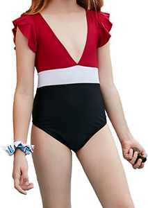 Macool Girls Read Swimsuits Toddler Kids Deep V Bikini Ruffle Bath Suits Beach Swimwear 2 Piece Swimsuit Size 6