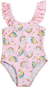 Macool Little Girls Unicorn Swimwear Toddler Kids Rainbow Bathsuits One Piece Baby Beach Swimsuit Size 5