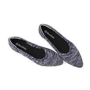 Women's Knit Pointed Ballet Flat - Casual Ballet Comfort Soft Slip On Flats Shoes (X010-7-BLUE/WHITE, Numeric_5)