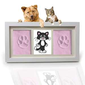 Pets4Luv Dog or Cat Paw Prints Pet Memorial Gifts Photo Frame 4x6 with Clay Impression Kit, Perfect Keepsake Picture Frame for Pet Lovers Handprint or Footprint (Pink)