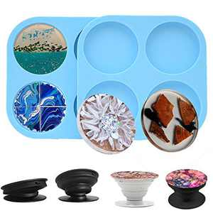 BoJia Phone Grip Resin Molds, 2 Pcs Pop Socket Silicone Mold for Resin on top, Circle Epoxy Resin Molds for Jewelry Making Supplies with 4 Round Plastic Phone Holders