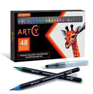 ARTCY Watercolor Brush Pens - Set of 48 Vibrant Water Colors Brush Market| Modern Art Supplies