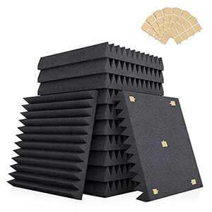 """AIKEI 12 Pack Acoustic Foam Panels, 2"""" X 12"""" X 12"""" Studio Soundproofing Wedges Fire Resistant Sound Proof Padding Acoustic Treatment Foam with Adhesive Tape - Black"""