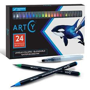 ARTCY Watercolor Brush Pens - Set of 24 Vibrant Water Colors Brush Market| Modern Art Supplies