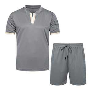 TOLOER Men's Tracksuit Set Short Sleeve T Shirts Jogger Shorts Solid Patchwork Comfy Sports Suit Grey Large