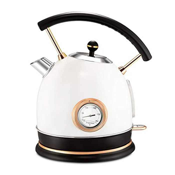 Pukomc Kettle Stainless Steel 1.8L, Electric Kettle with Temperature Control, Led Light, Fast Boiling, Auto Shut-Off&Boil-Dry Protection, White