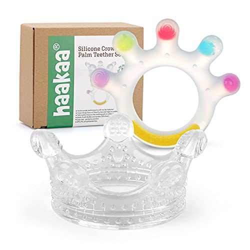 Haakaa Silicone Crown and Palm Teether Set 2PK - Super Soft Silicone Teething Toys   Soothing Teether for Babies 0-6,6-12 Months,Toddlers,Easy-to-Hold,Soothe Sore Gums,BPA Free Newborn Gifts