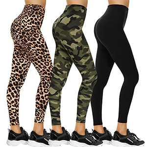 3 Pack Women's Yoga Leggings - High Waisted Tummy Control Non See Through Soft Stretch Pants for Workout Running