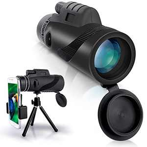 JUOIFIP 12X50 Monocular Telescope, High Power Monocular with Smartphone Holder & Tripod, Waterproof Zoom Telescope, BAK4 Prism Dual Focus for Bird Watching Hunting Traveling Concert Low Night Vision