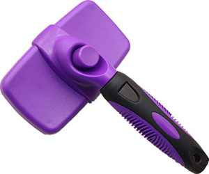 Self Cleaning Slicker Brush – Gently Removes Loose Undercoat, Mats and Tangled Hair – Your Dog or Cat Will Love Being Brushed with The Grooming Brush (Purple)