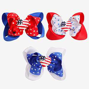 American Flag Bow Clips for girls,Boutique Grosgrain Ribbon Alligator Hairpins Patriotic Decorations Hair Accessories for Independence Day 4th of July