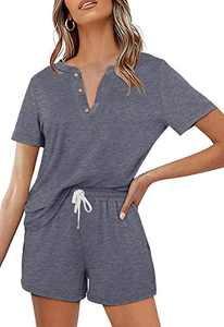 Women's 2 Piece Pajama Set Short Sleeve Henley Tops and Drawstring Shorts Sleepwear Loungewear Outfits with Pocket Grey