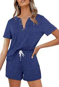 Women's 2 Piece Pajama Set Short Sleeve Henley Tops and Drawstring Shorts Sleepwear Loungewear Outfits with Pocket Navy
