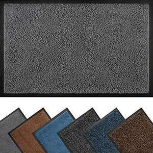 Door Mat Indoor 40 x 60 cm, Durable Barrier Mat, Low Profile Doormat for Indoor and Outdoor, Floor Mat Dirt Trapper, Absorbent Front Door Mat, Machine Washable Mat, Grey Mat