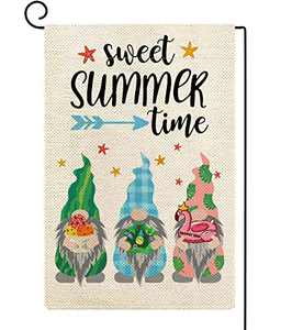 Baccessor Gnomes Summer Garden Flag Sweet Summer Time Gnomes with Gifts Small Yard Flag Vertical Double Sided Burlap Farmhouse Seasonal Outdoor Outside Lawn Decoration 12x18 Inch