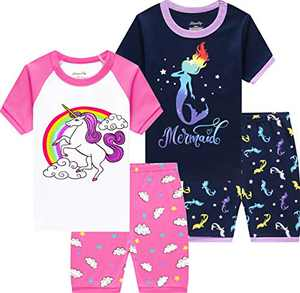 Summer Unicorn Pajamas Girls Short Sleeve Mermaid Pjs Toddler Kids Clothes Cotton Sleepwear Size 3