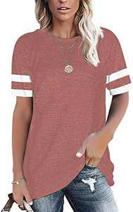 Womens Summer Tops Striped Short Sleeve T Shirts Round Neck Tunics Color Block Blouses Red