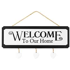 """Welcome Sign - Welcome to Our Home Sign Front Door Wall Decor, Hanging Rustic Wood Wall Decor Home Decor Sign with Heart, 4.4"""" x 13.3"""", Sweet Wood Sign for Home or Farmhouse Antique Kitchen Decor"""