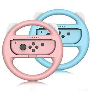 Switch Steering Wheel for Nintendo Switch Joycon Controller, 2 Pack Family Racing Steering Wheel Switch Controller for Mario Kart 8 Deluxe (Pink&Blue)