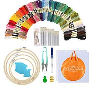 Embroidery Kit with 50 Colors Threads, 30 Embroidery Needles,2 Pieces Aida Cloth,Embroidery Hoops and Cross Stitch Tools for Beginners