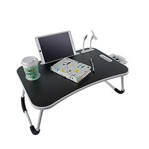 BigTron Laptop Desk, Foldable Portable Lap Bed Tray with Cup Holder/Storage Drawer/4 USB Port for Bed/Tables/Sofa Reading, Writing, Working (Black)