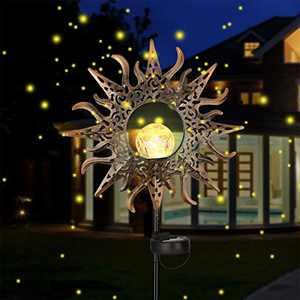 Sun Solar Garden Decorations - Maxuni Sun Lights Decorative Stakes Cracked Glass Globe Garden Lights Solar Powered, Waterproof Metal LED Lights for Garden, Yard, Lawn, Patio