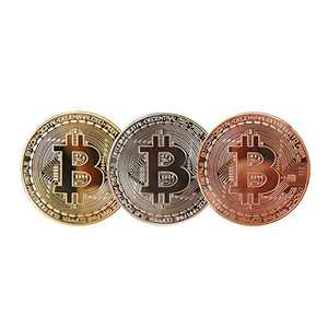 Bitcoin Coin, Gold Sliver Copper Plated, Commemorative Blockchain Cryptocurrency Gift Set, Tokens Chase Physical BTC 3 Pcs