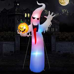 Chnaivy 8 Ft Halloween Inflatables Ghosts with Pumpkins Decorations for Outdoor Yard, Blow up Garden Decor Build in Changing LED Light…