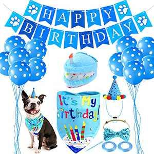 Pweituoet Dog Birthday Party Supplies for Small/Medium Dog- Puppy Birthday Squeaky Cake Toys/Dog Birthday Hat/Dog Birthday Bandana/Dog Tie/Letter Banner/Balloon for Dog Birthday Party
