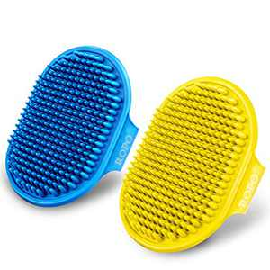 Dog Grooming Brush, Pet Shampoo Bath Brush Soothing Massage Rubber Comb with Adjustable Ring Handle for Long Short Haired Dogs and Cats 2pcs