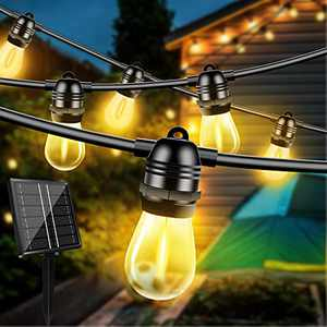 Otdair 48ft Solar String Lights Outdoor, Waterproof Patio Lights with 15 Edison Bulbs +2 Spare Bulb, Shatterproof Hanging Lights Decorative for Porch Backyard Party Warm Light