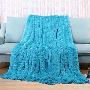 """Super Soft Plush Faux Fur Blanket 50"""" x 60"""",Fluffy Cozy Comfy Furry Warm Throw Blanket Sherpa Fuzzy Fleece Thick Lightweight Blanket for Bed Chair Sofa Couch Bedroom(Teal, Throw50 x 60"""")"""