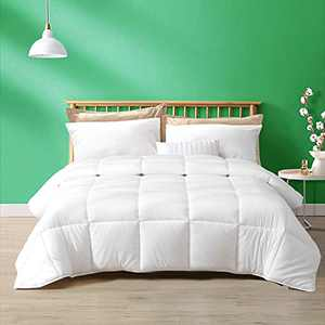 TOPGREEN Down Alternative Comforter Queen- 100% Cotton Cover and Soft Breathable GRS Bio-Base Microfiber Quilted Stand-Alone Comforter or Duvet Insert, Medium Warm for All Season (90x90, White)