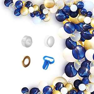 Wiletasz DIY Navy Blue Balloons 124pcs Garland Kit & Balloon Arch, Party Supplies Decorations Gold Metallic & Confetti Latex Balloons for Wedding, Birthday, Graduation, Anniversary, Baby Shower, Party