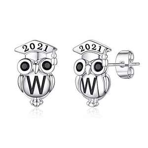 Graduation Gifts for Her Owl Earrings, S925 Sterling Silver Post 14K Gold Plated 2021 Initial Owl Stud Earrings Hypoallergenic Earrings for Sensitive Ears Graduation Friendship Gifts for Her 2021(W)